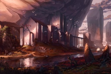 village fantasy mountain artstation