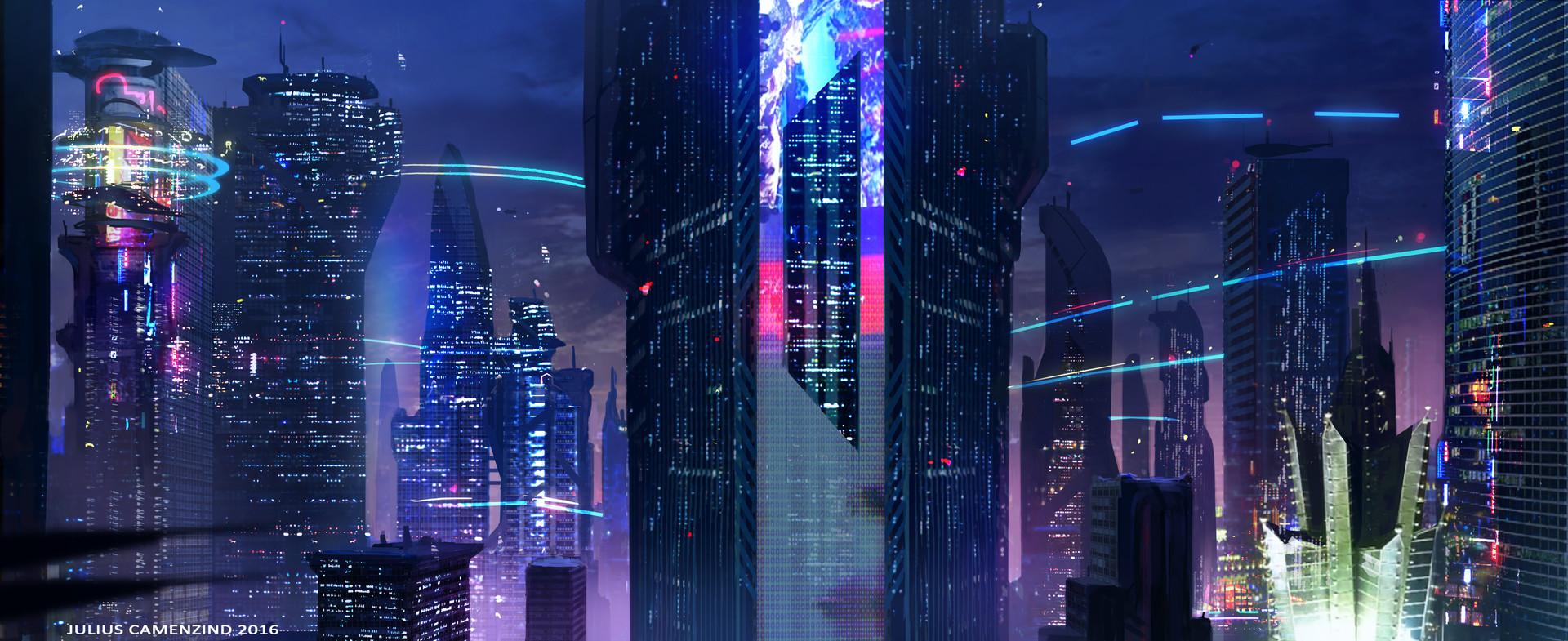 City Skyline Wallpaper Hd Artstation Cyberpunk Sci Fi Julius Camenzind
