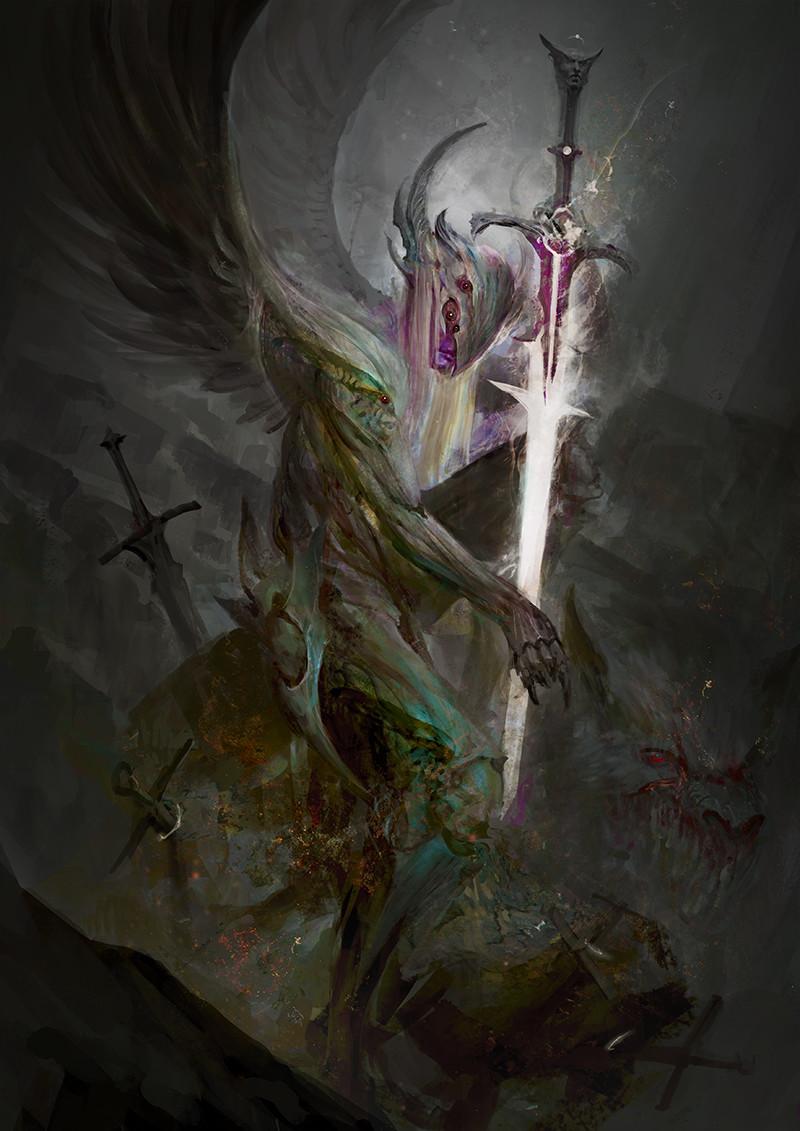 Fantasy Fallen Angels Girls Wallpaper Artstation Ars Goetia Andras Daniel Kamarudin