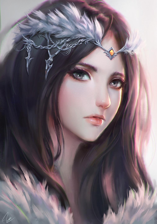 Realistic Anime Girl Black Hair Art