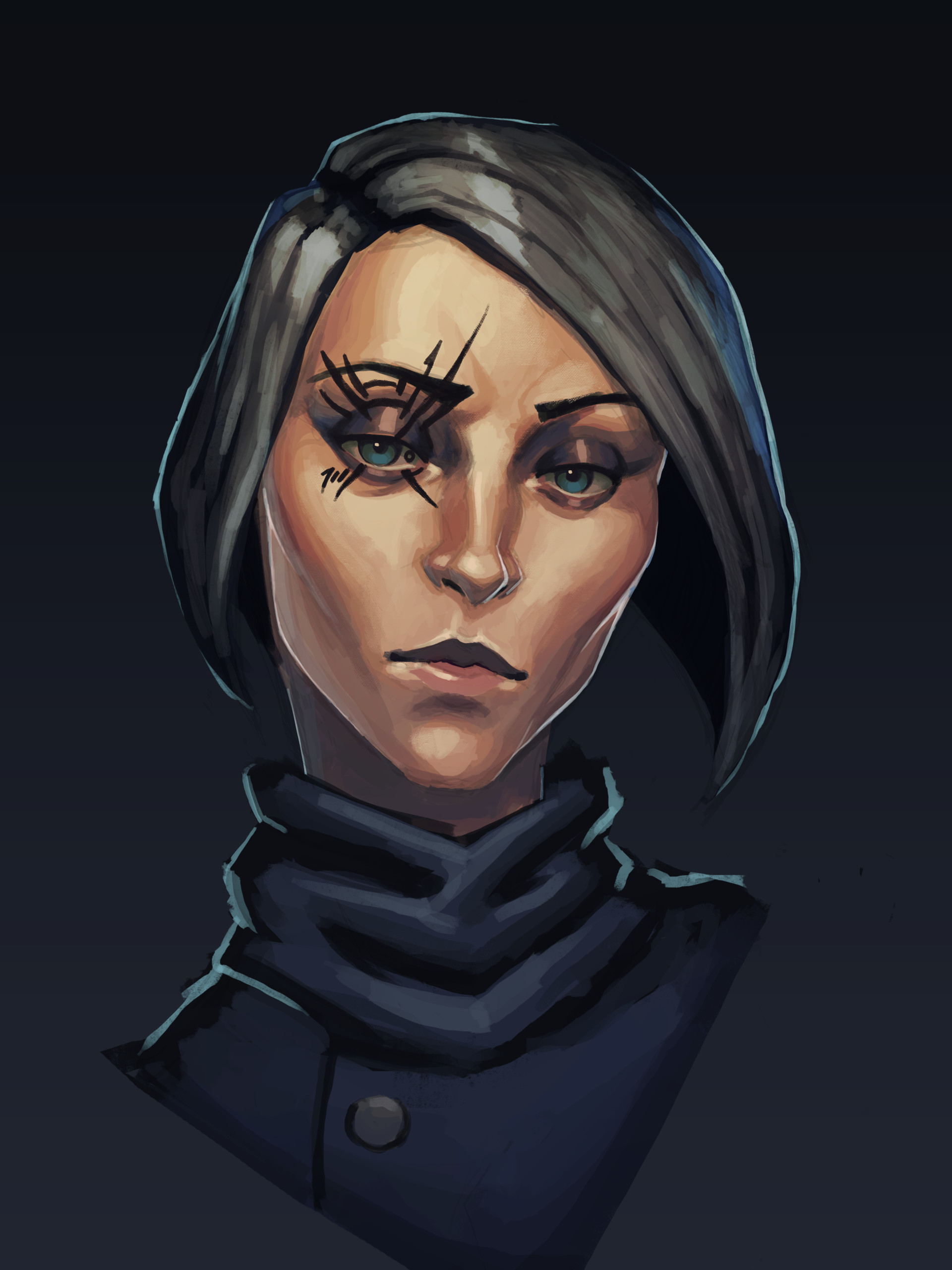artstation dishonored style portrait