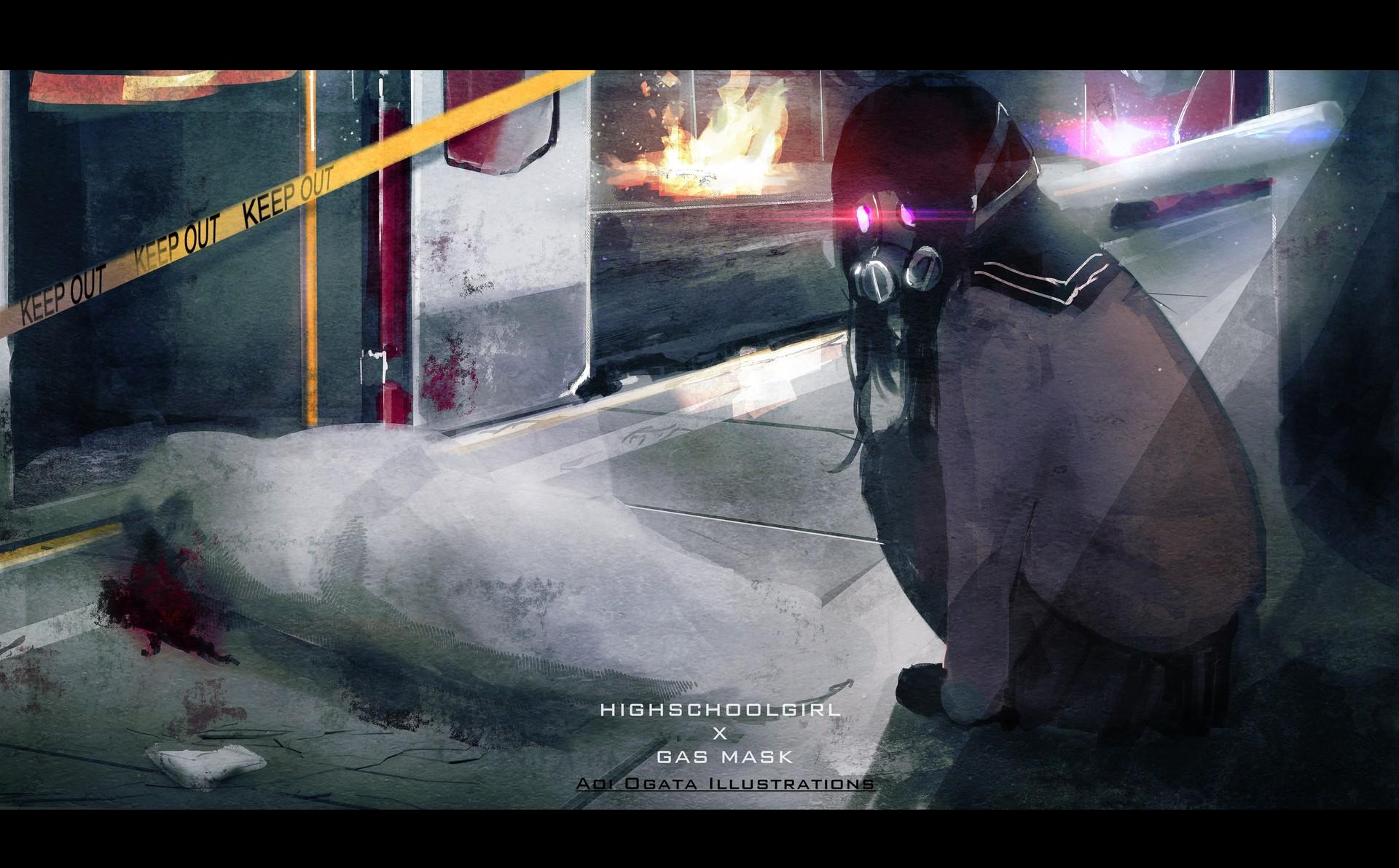 Bad Girl Anime Wallpaper Artstation Highschool Girl X Gas Mask Aoi Ogata