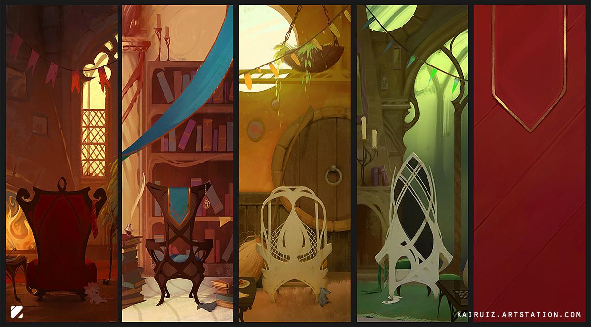 ArtStation  Hogwarts common rooms Carlos Ruiz