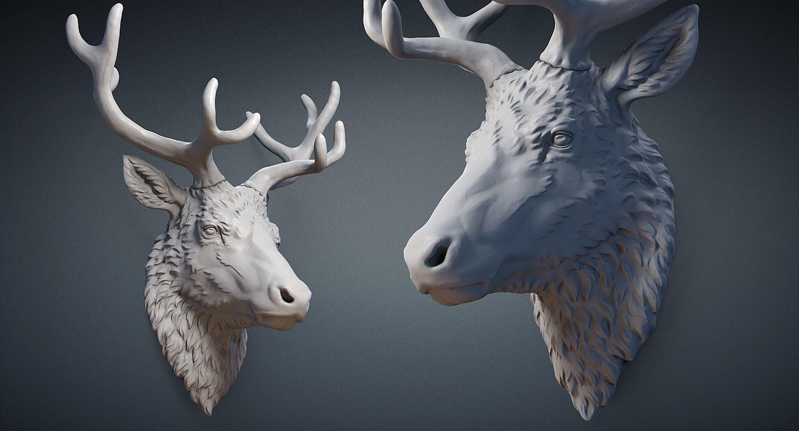 Nikolay Vorobyov  Reindeer head 3D print digital sculpture
