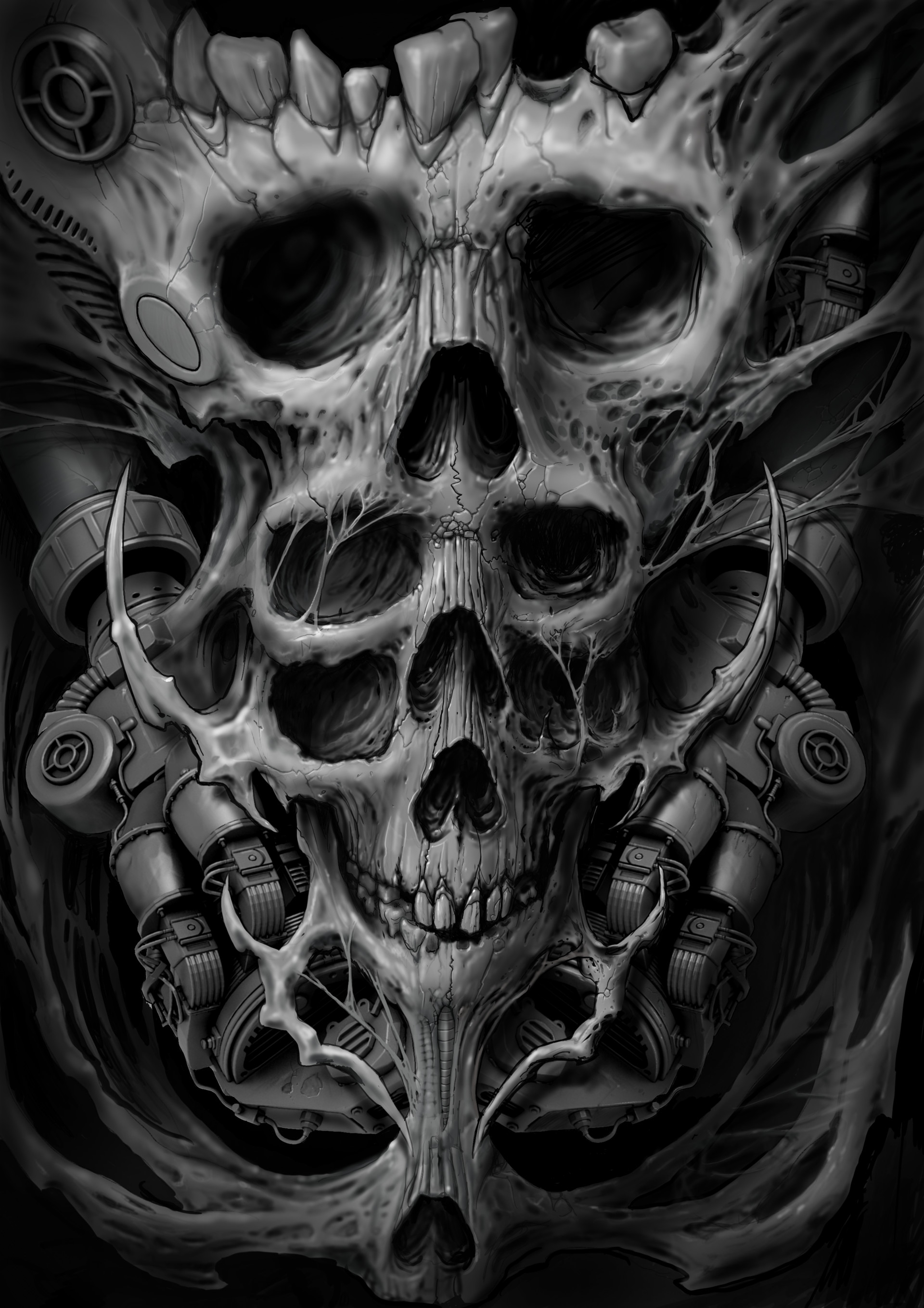 Dark Skulls Tattoo Art Drawings