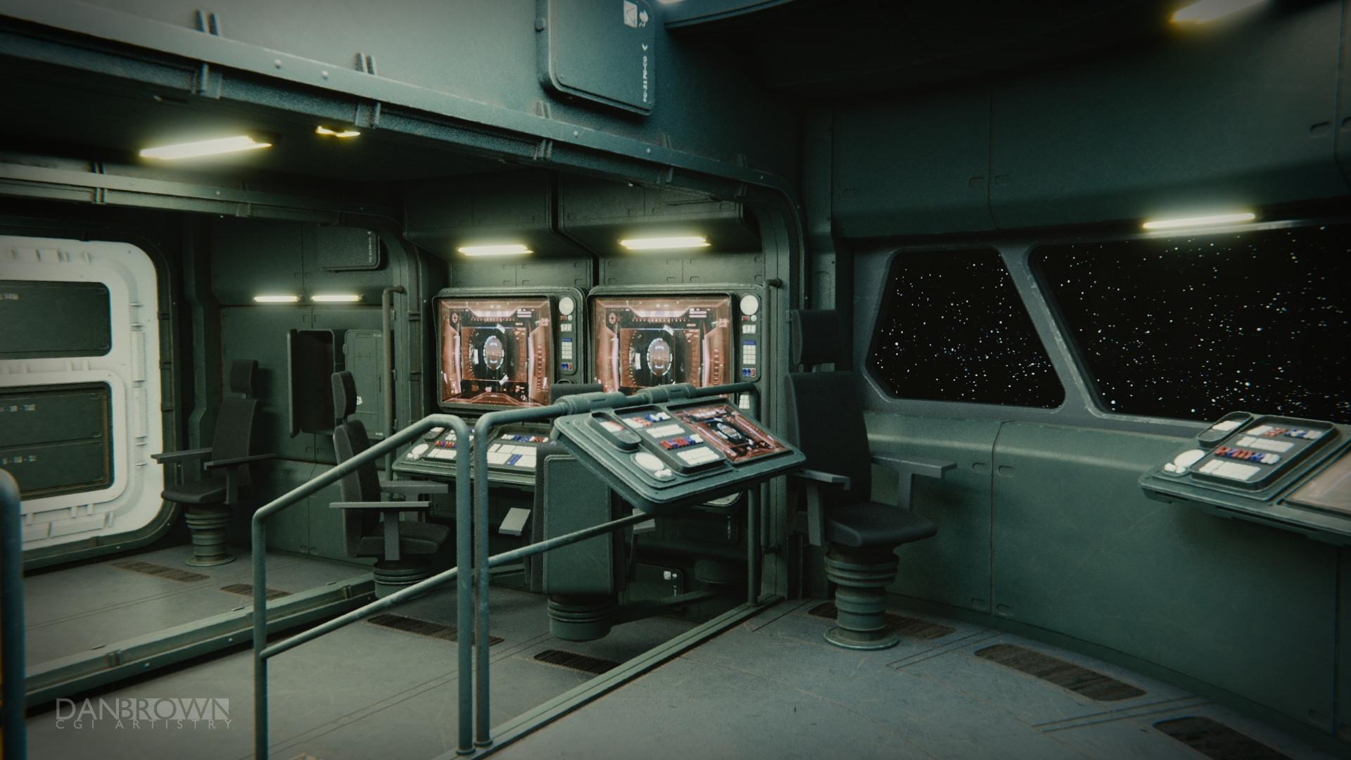 Dan Brown CGI  Scifi Art  Space Freighter Command Deck WIP