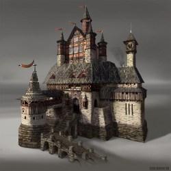 medieval castle artstation fantasy germanic german artwork johnstone building architecture george castles gate houses dark