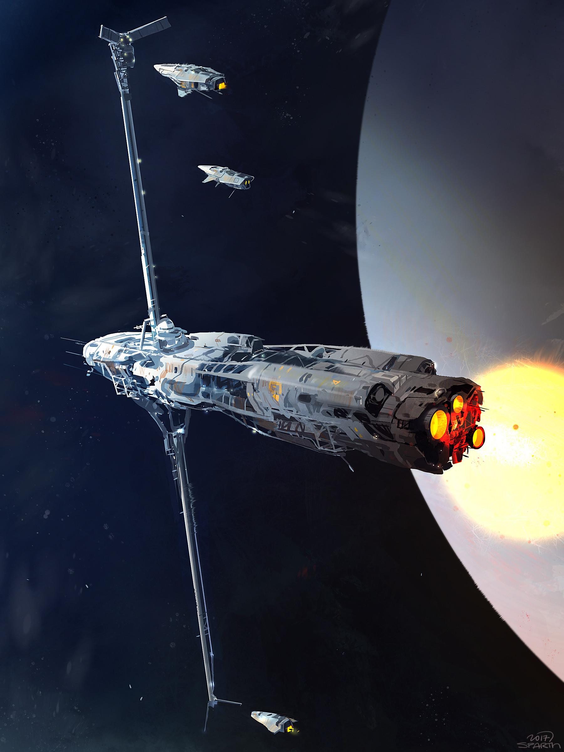 Artstation - Refueling Spaceship Sketch Sparth