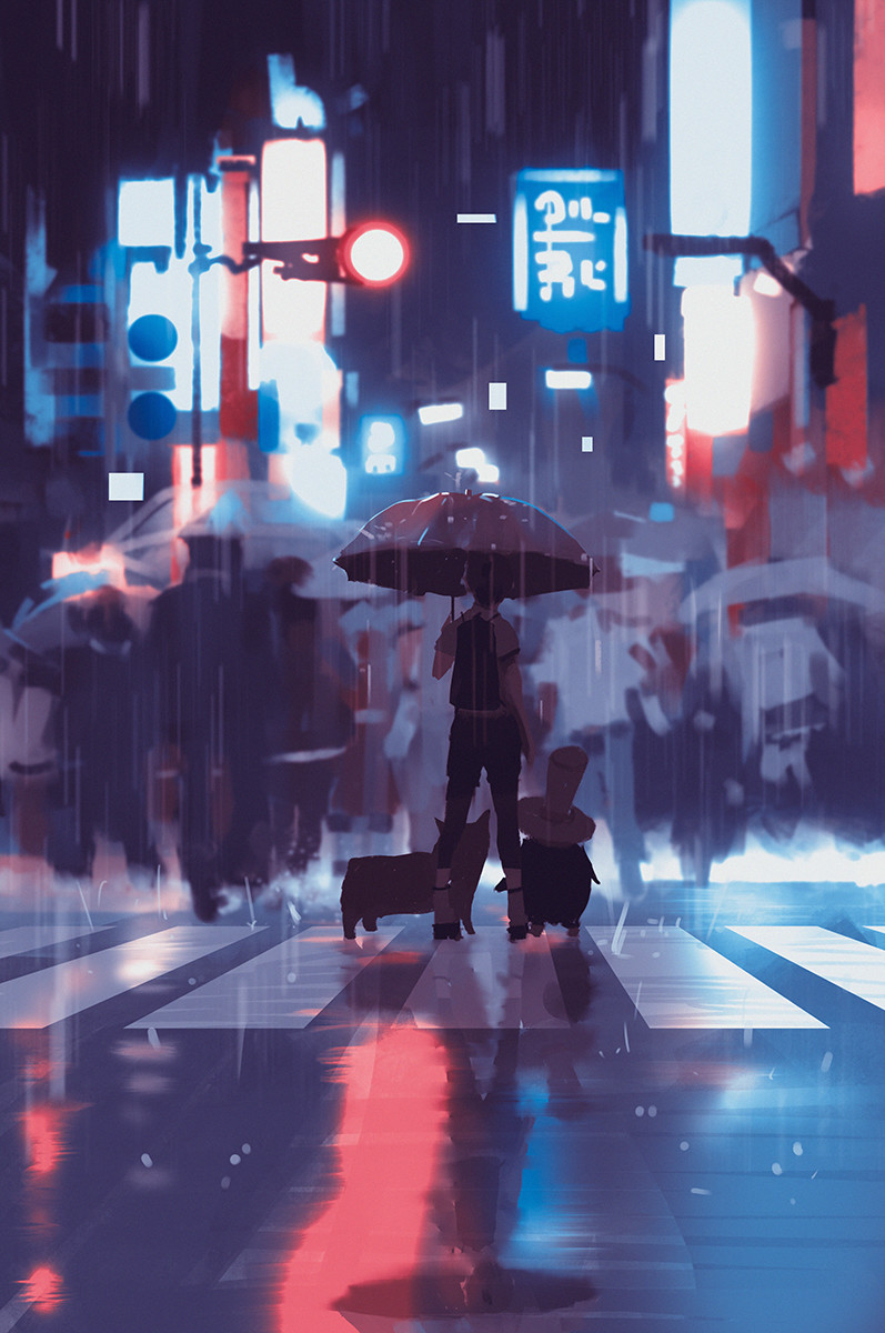 Anime Girl In The Rain Wallpaper Atey Ghailan Sketches