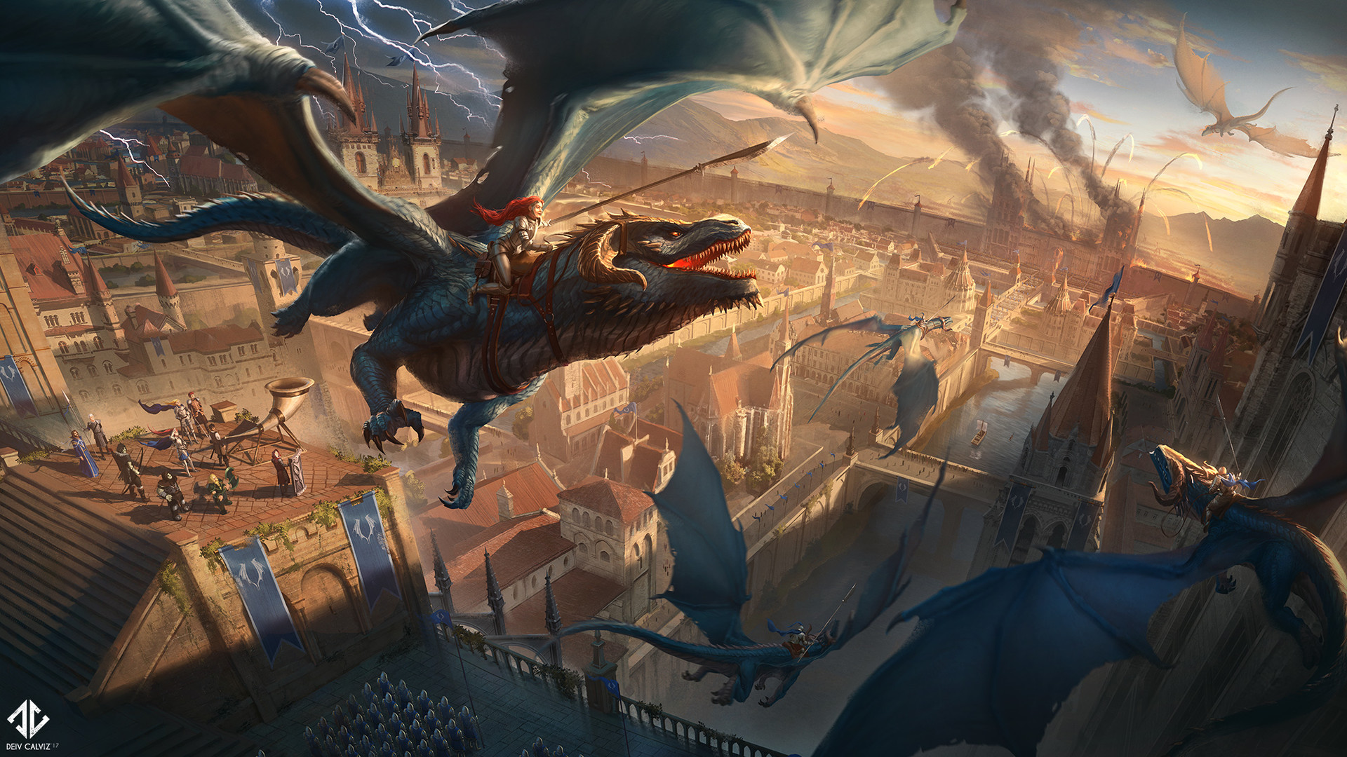 Artstation - Dragon Rider Battle Deiv Calviz David Villegas