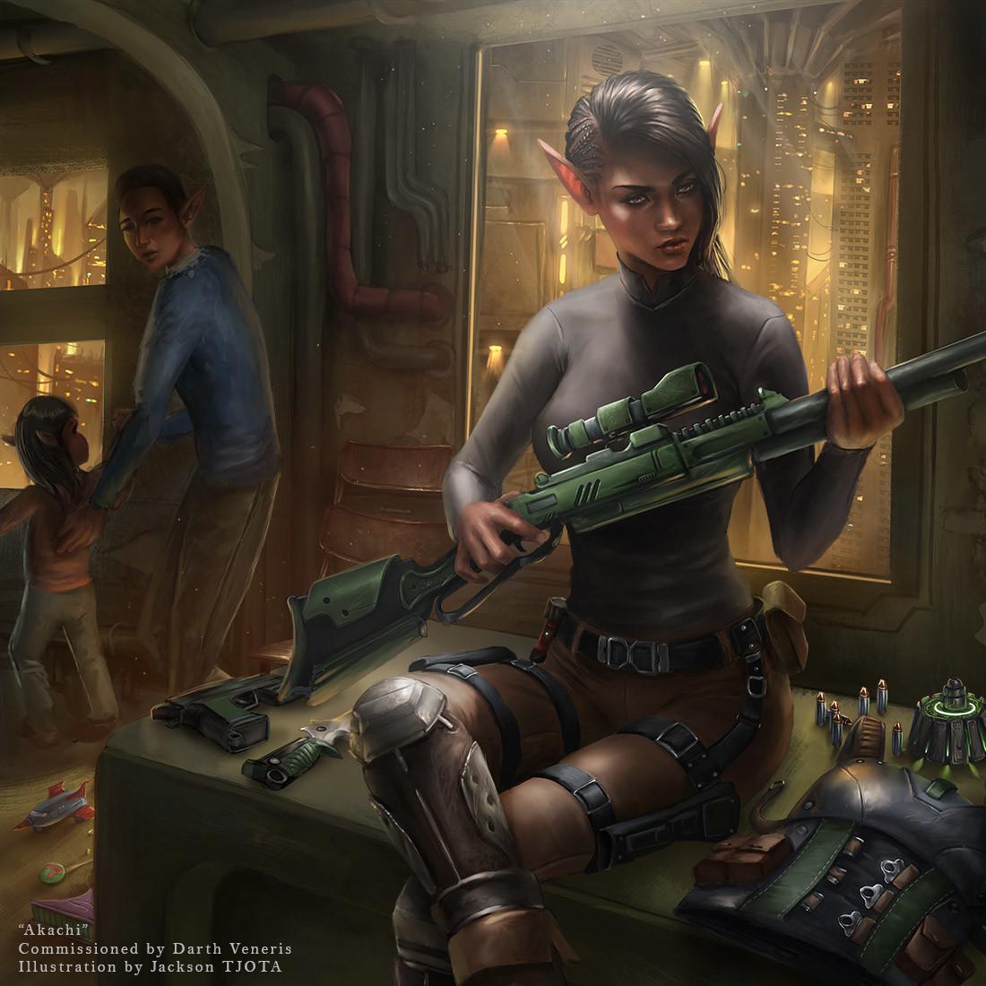 Futuristic Soldier Girl Wallpaper Artstation Commission Akachi Jackson Tjota