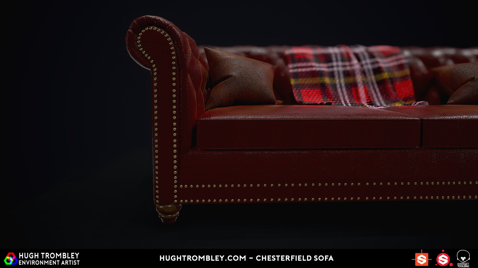 tartan chesterfield sofa curved outdoor furniture hugh trombley 3d environment artist