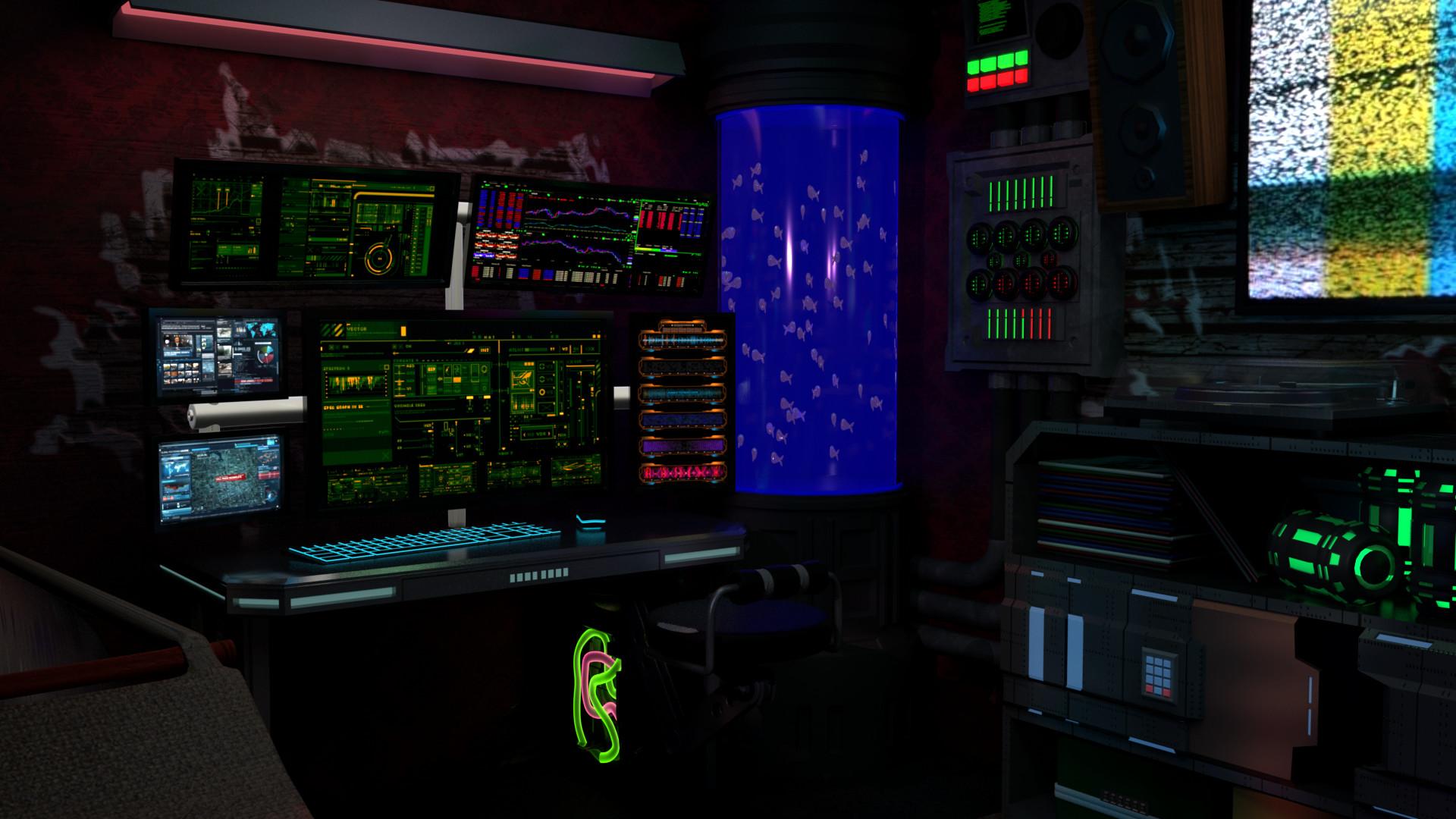 ArtStation  CyberPunk Room Jason Goldwine