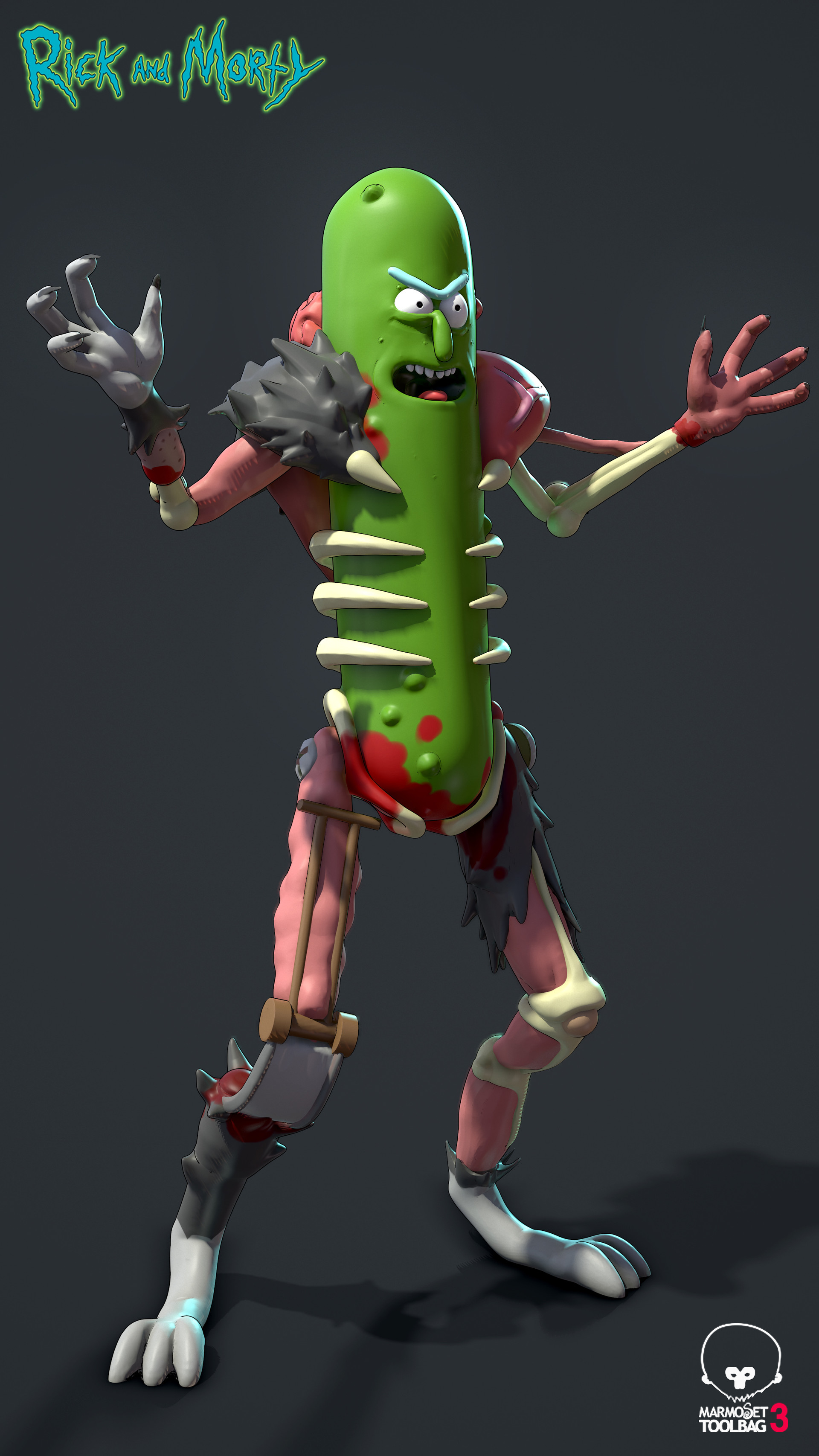 3d Pickle Rick Wallpaper Artstation Pickle Rick Paul Scott