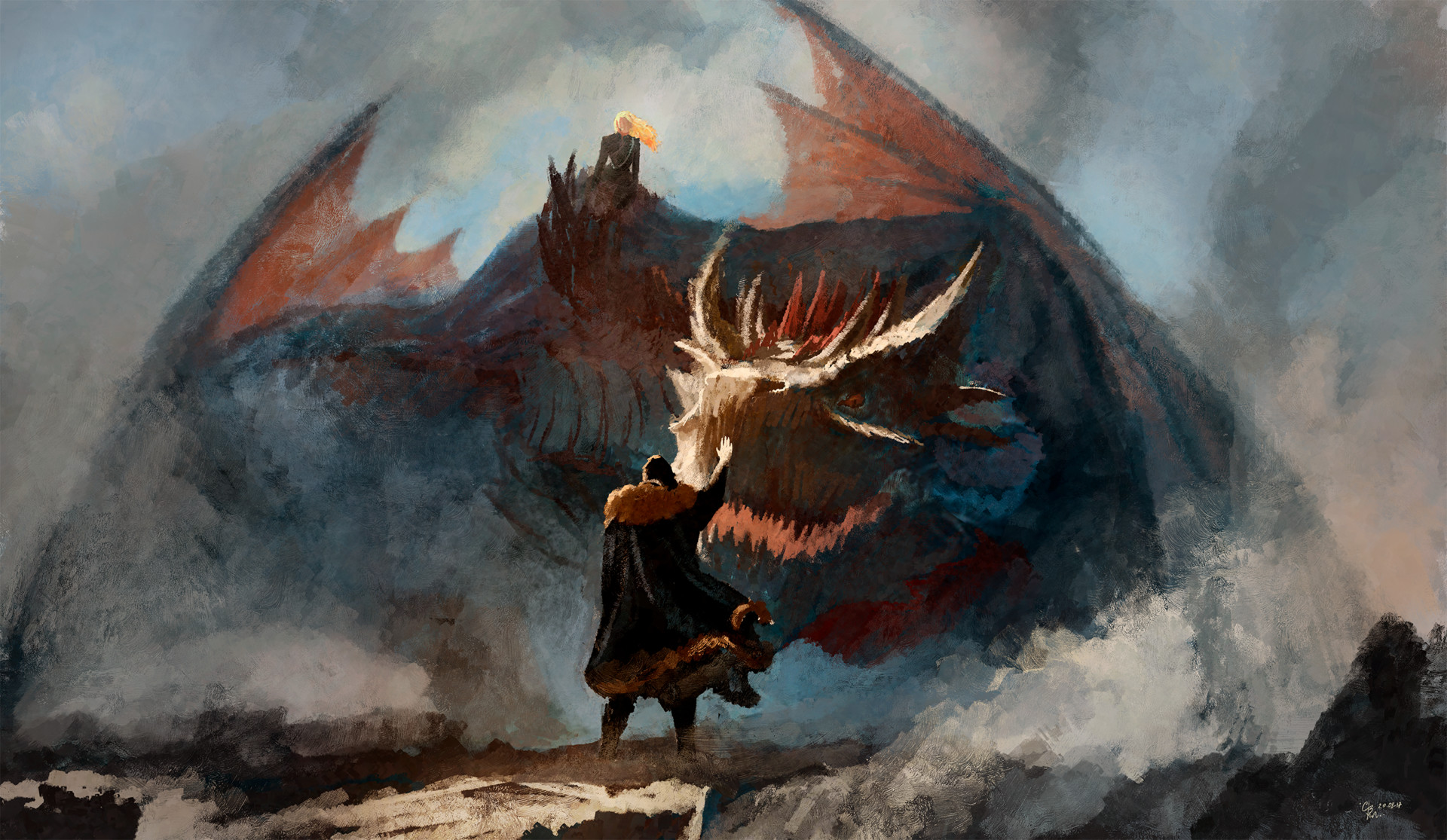 Game of Thrones Jon Snow and Dragon