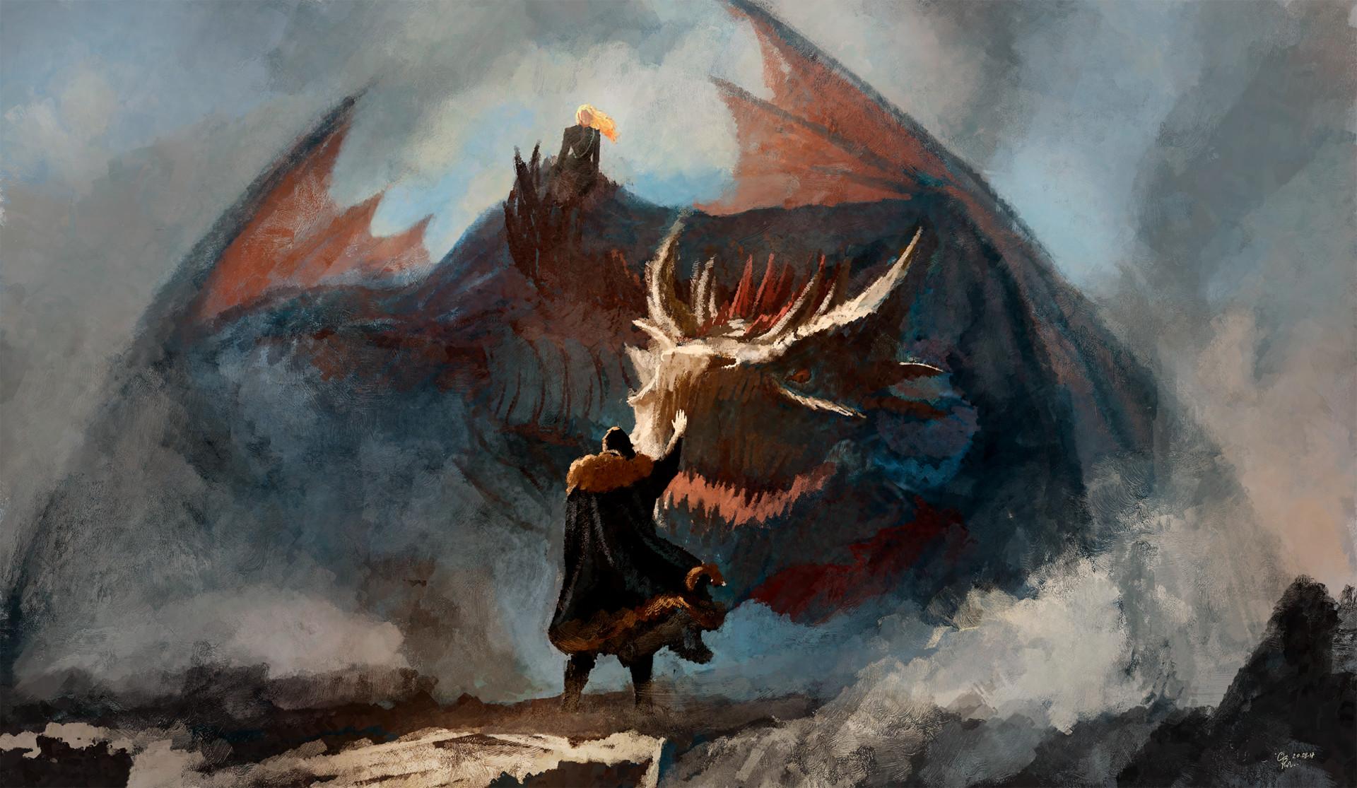 Game of Thrones Jon Snow and Dragon