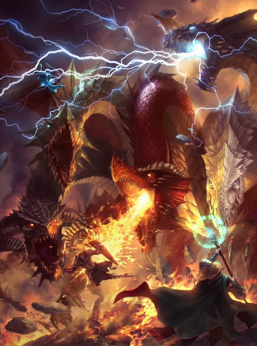 Artstation - Five Headed Chromatic Dragon Lie Setiawan