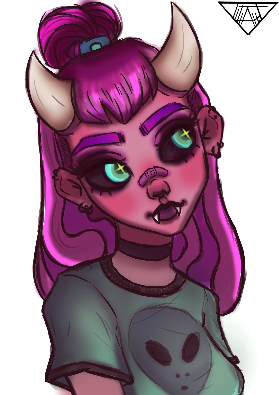 Artstation - Alien Girl Colored Rebeca
