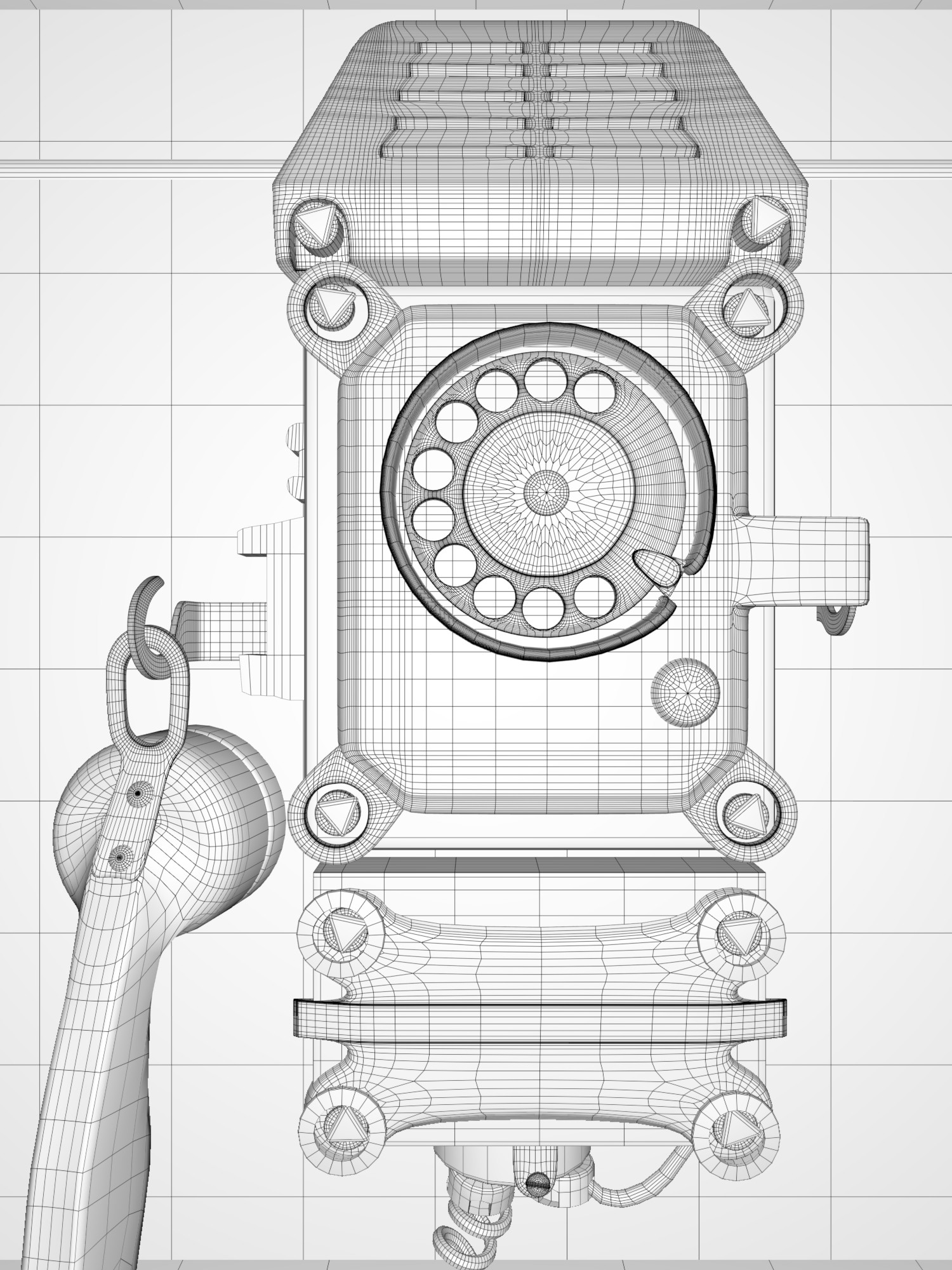 hight resolution of old telephone wireframe