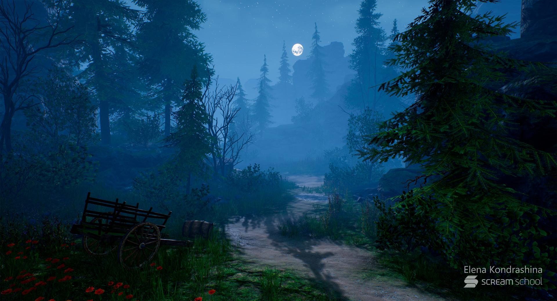 artstation night forest lighting