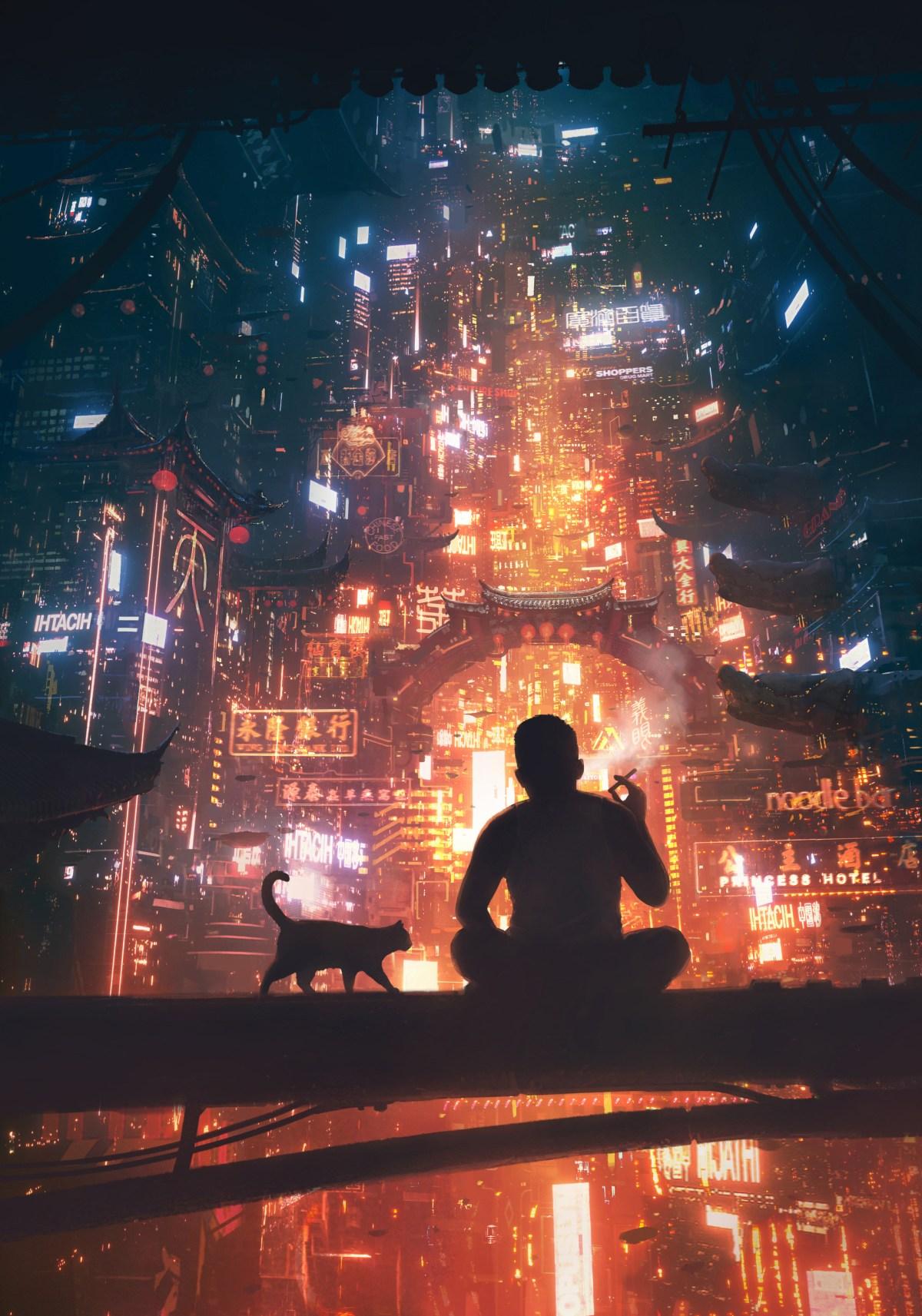 Cyberpunk Futuristic City - China and cat