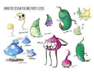Xiaoyi Geng Food Defender Food monsters design