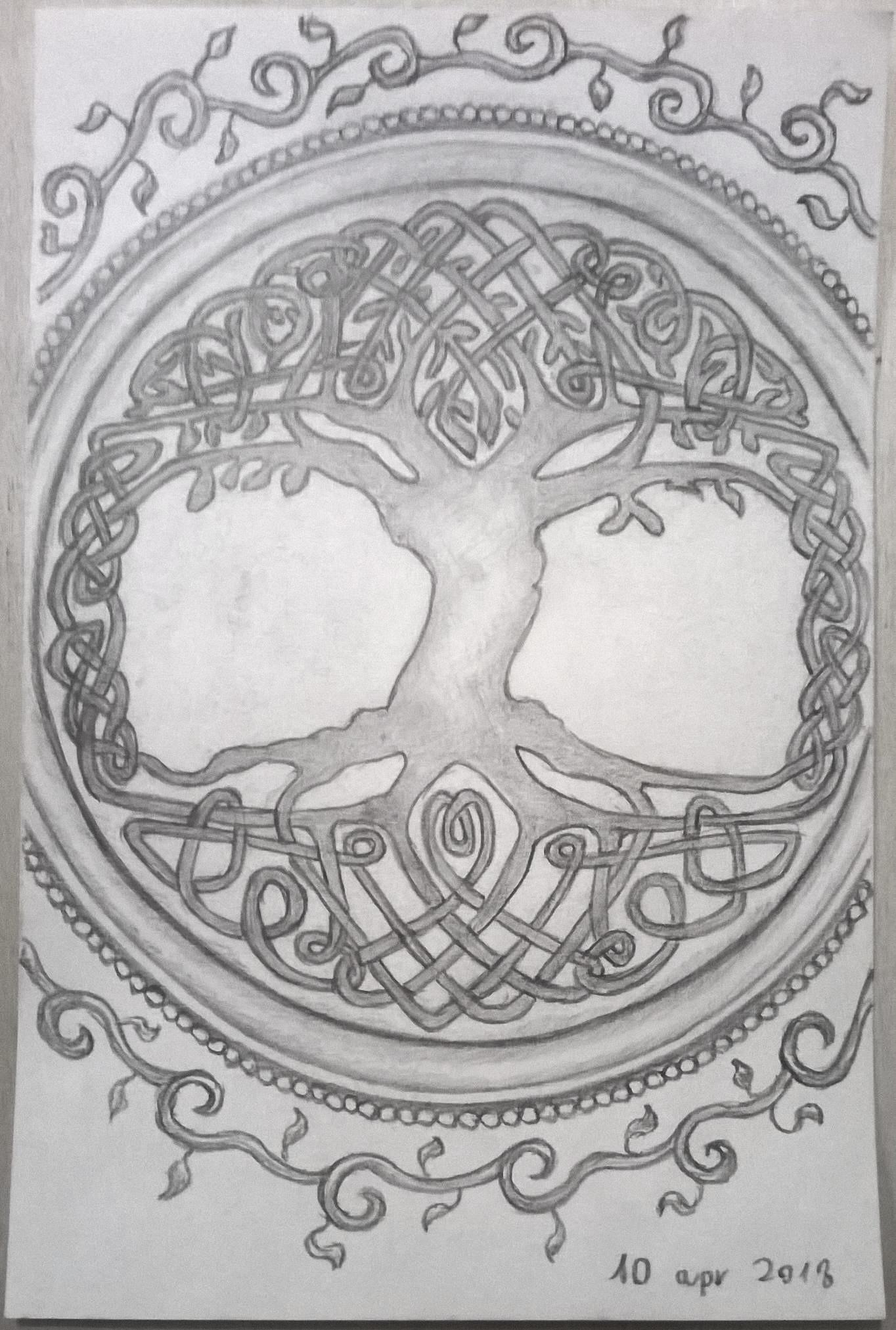 Celtic Tree Of Life Drawing : celtic, drawing, Davide, Tirindelli, Celtic, Pencil, Sketch, April, 10th,