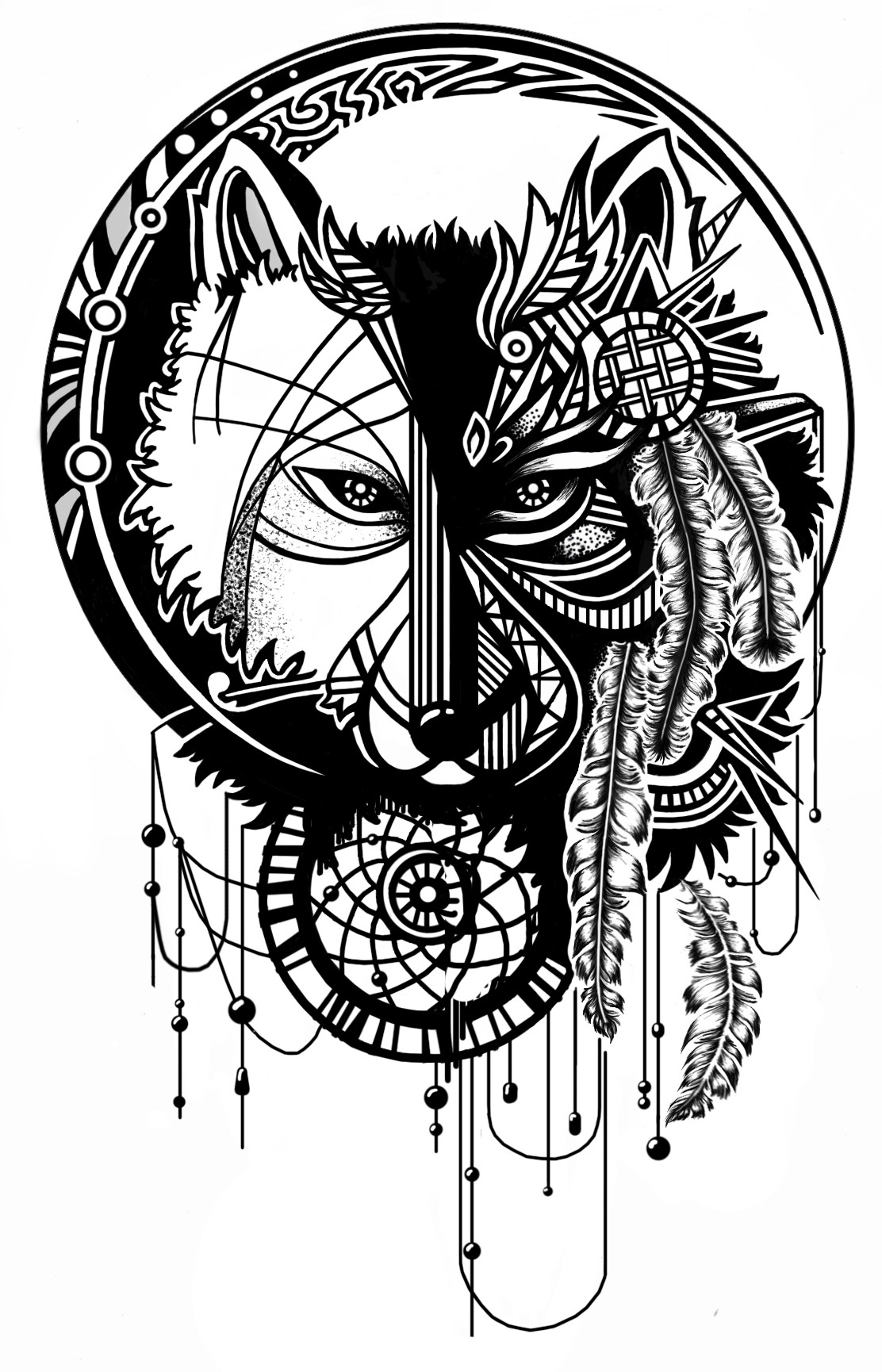Tribal Wolf And Moon Drawing : tribal, drawing