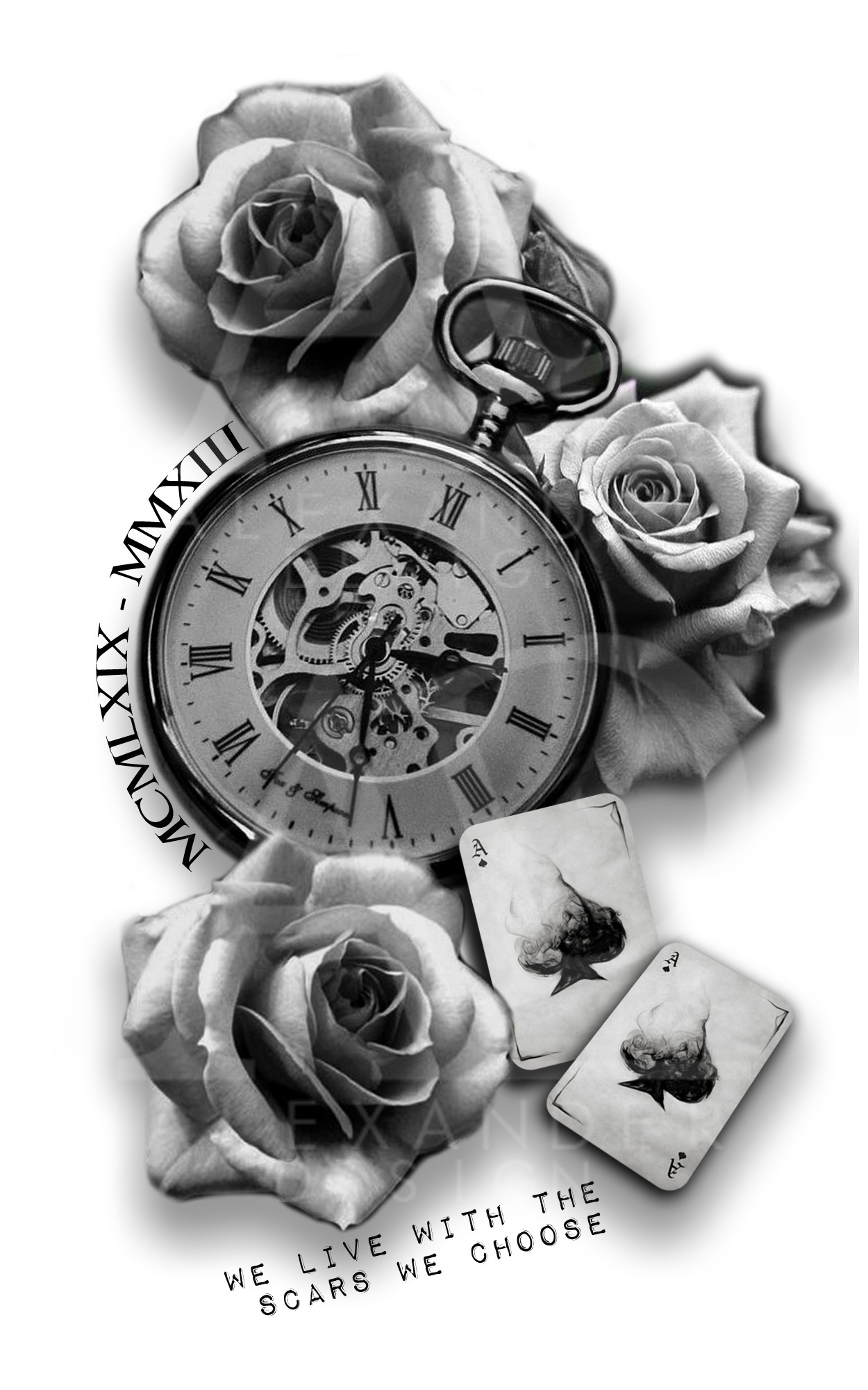 Pocket Watch And Rose Tattoo : pocket, watch, tattoo, ArtStation, TATTOO, SLEEVE, POCKETWATCH, ROSES,, Alexander, Design