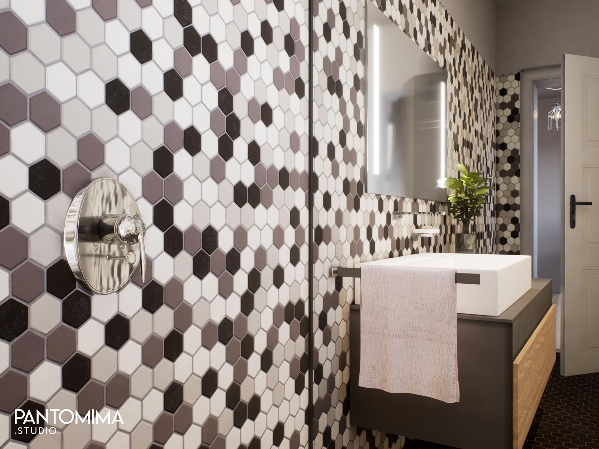 black hexagon tiles pantomima studio