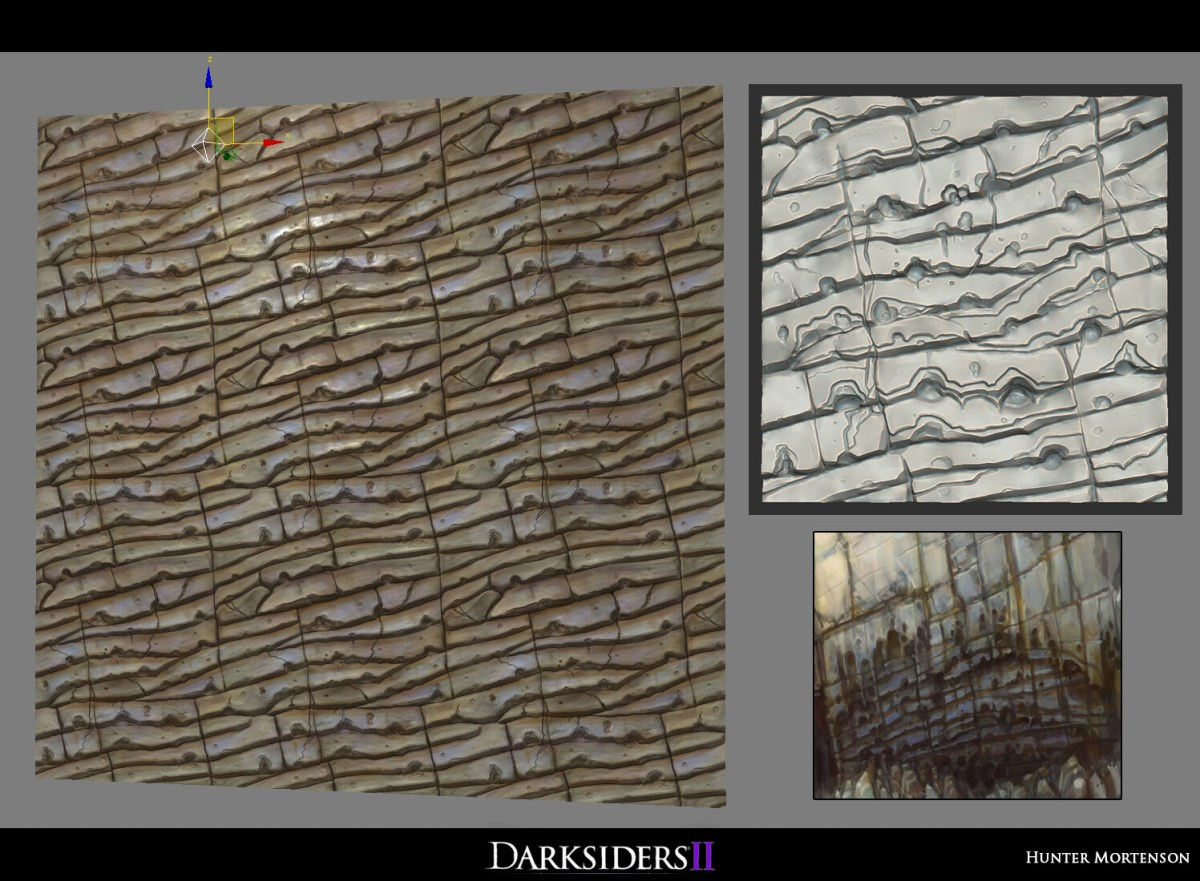 The first sculpted tiling texture I've ever made, was a bit of a doozy getting it tiling... Concept sketch by Art Director Han Randhawa I believe.