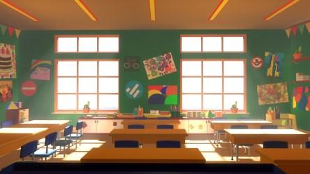 InCom Studio 3D Asset Cartoons Background Classroom 02 3D model