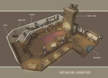 Sam Horsley Environment Concept art assignment Rope Walk Inn Light hearted fantasy tavern