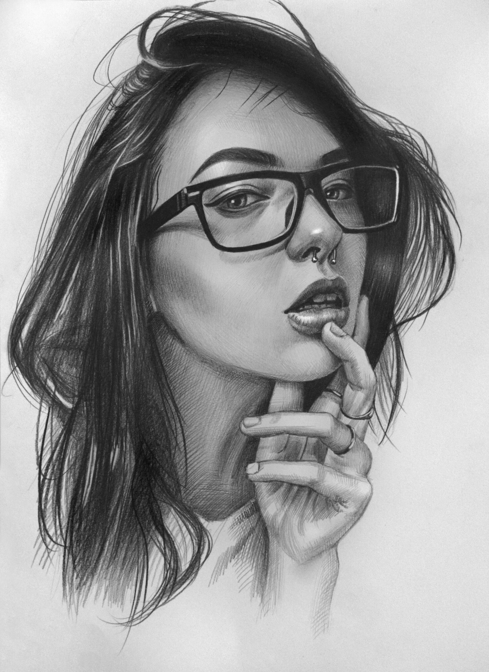 Girl With Glasses Drawing : glasses, drawing, Sergo, Sergonyan, Beautiful, Glasses