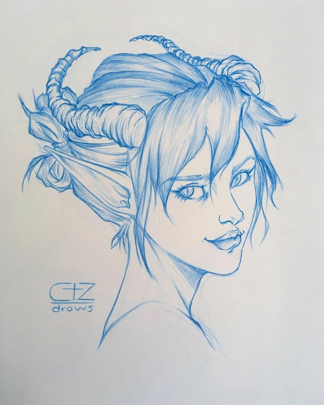 Girl Devil Drawing : devil, drawing, ArtStation, Devil, Girl,, Draws), Delgadillo