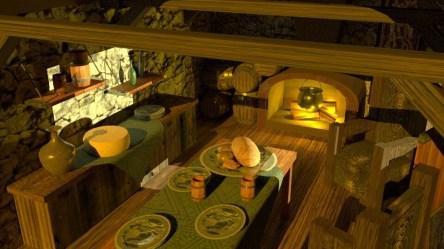 Corinne Krista Oro Medieval Kitchen 3D Art
