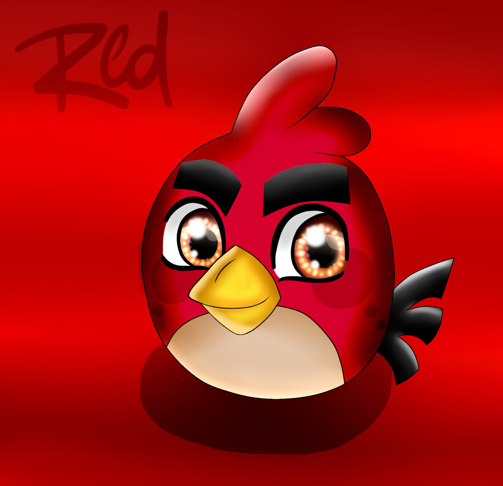 angry birds red digitalized art