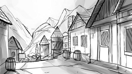 Simple Medieval Town Drawing