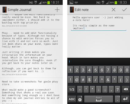 Simple Journal preview screenshot