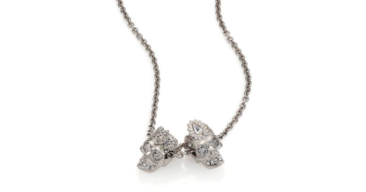 Alexander McQueen King & Queen Skull Pendant Necklace in