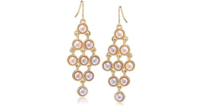 Carolee Peach Blossom Goldtone And Faux Pearl Chandelier Earrings In Metallic Lyst