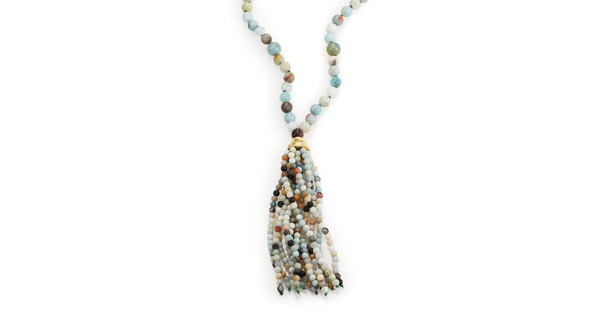 Kenneth jay lane Beaded Long Tassel Necklace in Blue (gold