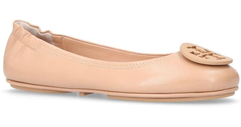 f7de9ae20fff41 Lyst Tory Burch Minnie Travel Ballet Flats In Natural