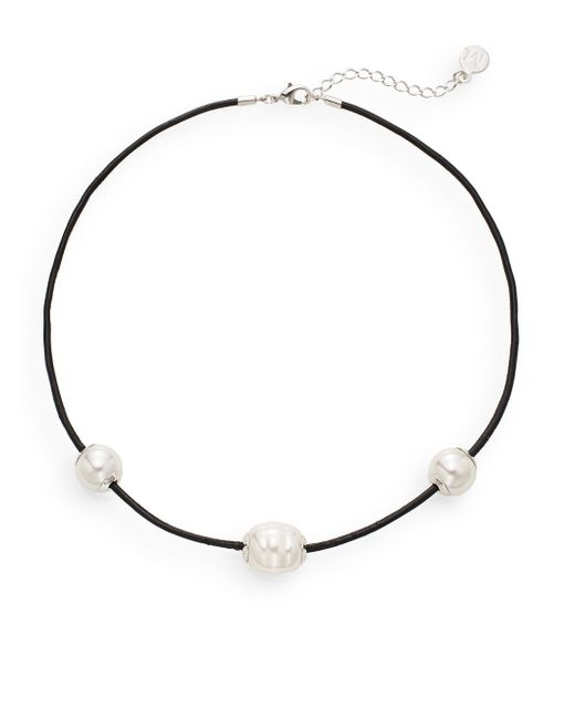 Majorica 14mm White Round Pearl & Leather Necklace in