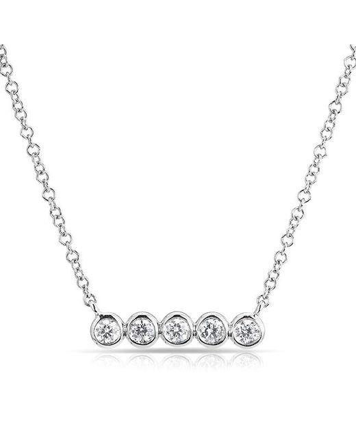 Anne sisteron 14kt White Gold Bezel Set Diamond Short Bar