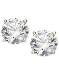 Macy's Diamond Stud Earrings (2 Ct. T.w.) In 14k Gold Or ...