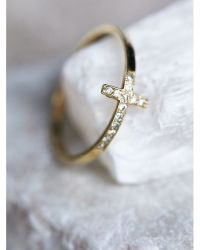 Free people Diamond Cross Ring in Metallic