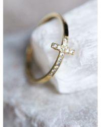 Free people Diamond Cross Ring in Metallic | Lyst