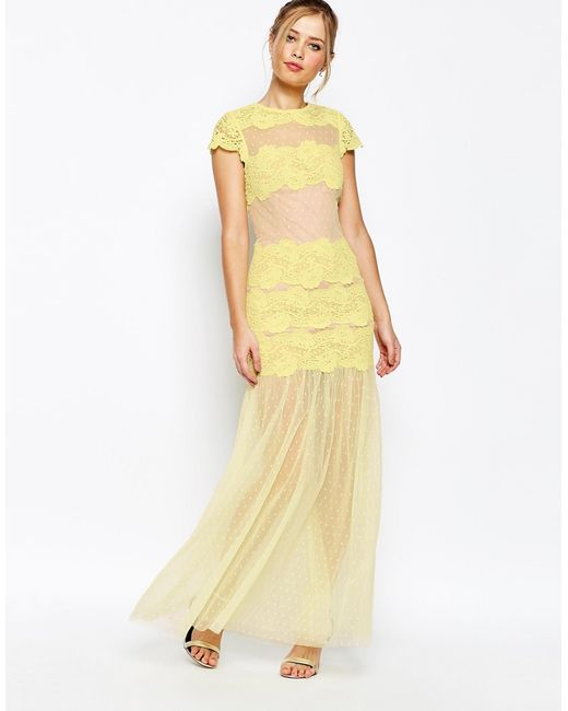 Jarlo Sheer Maxi Dress With Lace Panels in Yellow Lyst
