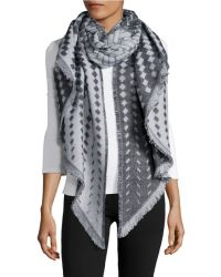 Lord & taylor Basketweave Knit Blanket Scarf in Black | Lyst